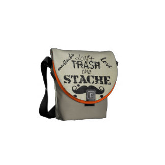 Don't Trash the Stache Mustache Retro Hipster Courier Bag