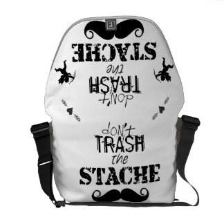 Don't Trash the Stache Mustache Retro Hipster Messenger Bag