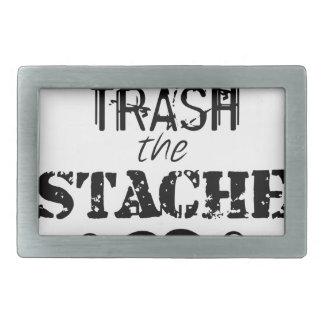 Don't Trash the Stache Mustache Retro Hipster Rectangular Belt Buckle