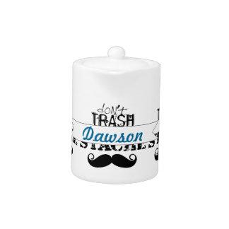 Don't Trash the Stache Mustache Retro Hipster Teapot