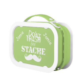 Don't Trash the Stache Personalized Hipster Lunch Box