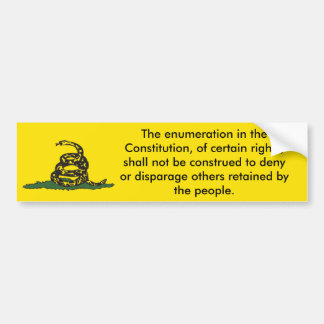 Don't Tread On Me 9th Amendment Bumper Sticker