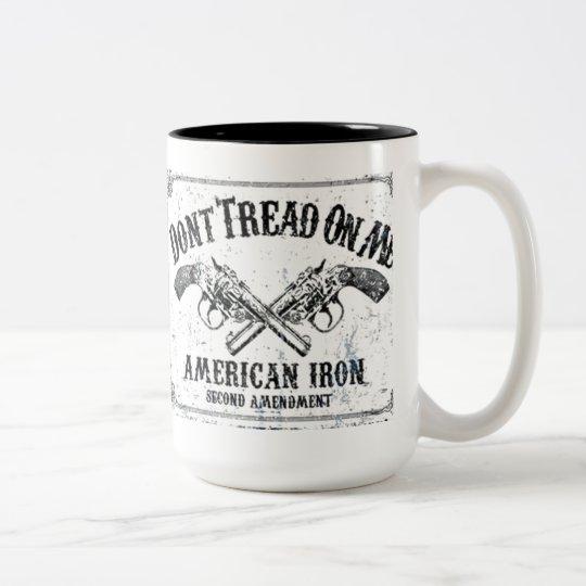 DONT TREAD ON ME AMERICAN IRON B.png Two-Tone Coffee Mug