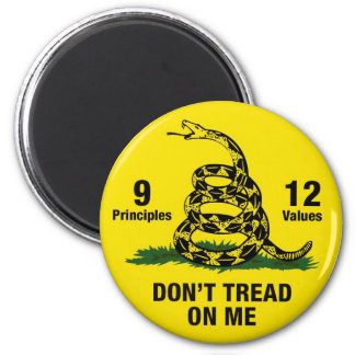 Don't Tread on Me Flag 9 Principles 12 Values Magnet
