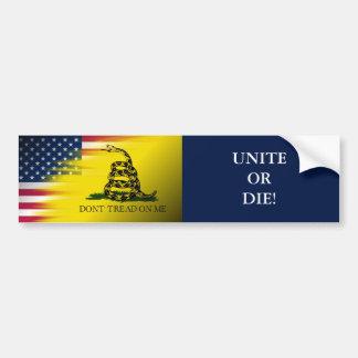 """""""Don't tread on me"""" flag/U.S.A. flag-Unite or Die! Car Bumper Sticker"""
