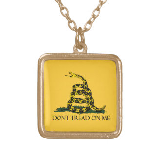 Don't Tread on Me, Gadsden Flag Patriotic History Gold Plated Necklace