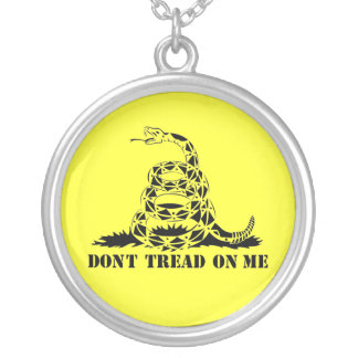 Dont Tread On Me Gadsden Flag Snake Symbol Silver Plated Necklace