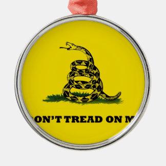 Don't Tread On Me gadston flag Round Metal Christmas Ornament
