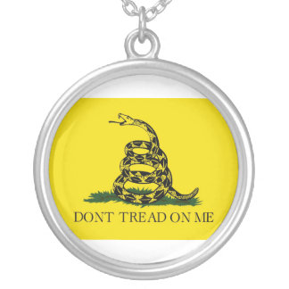 Dont Tread On Me Revolutionary War Gadsden Flag Silver Plated Necklace