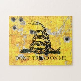 Don't Tread on Me - Shot Gadsden Flag on Metal She Jigsaw Puzzle