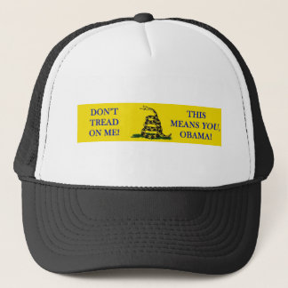 DON'T TREAD ON ME THIS MEANS YOU OBAMA SNAKE FLAG TRUCKER HAT