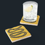 """Dont Tread On Me Vintage Stone Coaster<br><div class=""""desc"""">The Gadsden Dont Tread on Me flag is one of the most heralded symbols of American liberty since old Christopher Gadsden designed it in 1775. But the interesting thing about the rattlesnake design is that it didn&#39;t actually just pop into Gadsden&#39;s head from some divine inspiration. As far as we...</div>"""