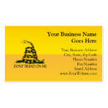 Don't Tread on Me, Yellow Gadsden Flag Ensign Business Card Template