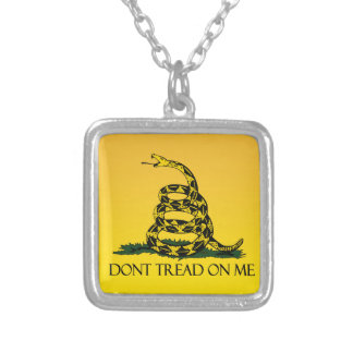 Don't Tread on Me, Yellow Gadsden Flag Ensign Square Pendant Necklace