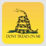 Don't Tread on Me, Yellow Gadsden Flag Ensign Square Sticker