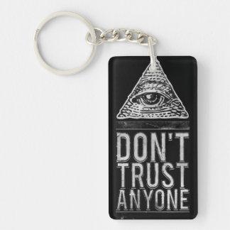 Don't trust anyone Double-Sided rectangular acrylic keychain