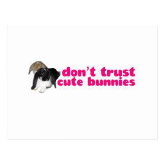 Dont Trust Cute Bunnies - Rabbits Naughty Postcard