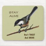 Don't Tweet & Drive: Bird: Color Pencil Art Mousepads