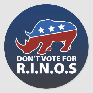 Don't Vote for R.I.N.O.s Classic Round Sticker