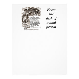 Don't Want To Go Among Mad People Alice Cheshire Letterhead