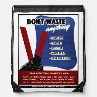 Don't Waste Scrap Metal Drawstring Backpack