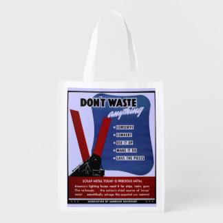Don't Waste Scrap Metal Reusable Bag Market Tote