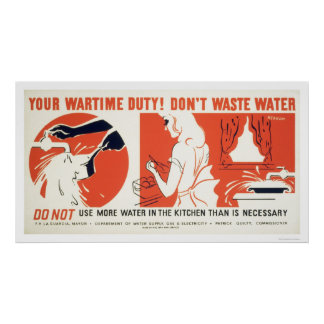 Don't Waste Water Kitchen WPA Poster