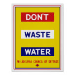 Don't Waste Water -- WPA Poster