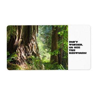 Don't Wonder, Go See the Redwoods! label stickers