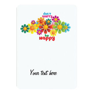 Don't worry be happy 5x7 paper invitation card