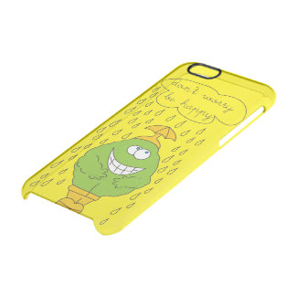 Don't Worry Be Happy Funny Creature in Rain Clear iPhone 6/6S Case