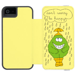 Don't Worry Be Happy Funny Creature in Rain iPhone SE/5/5s Wallet Case
