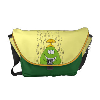 Don't Worry Be Happy Funny Creature in Rain Messenger Bag