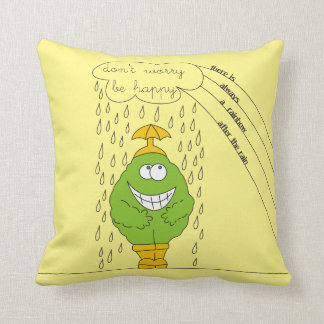 Don't Worry Be Happy Funny Creature in Rain Throw Pillow
