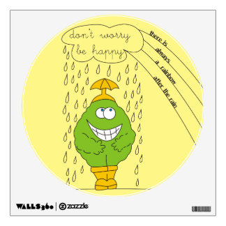Don't Worry Be Happy Funny Creature in Rain Wall Sticker