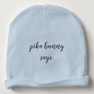 don't worry...be hoppy baby beanie blue
