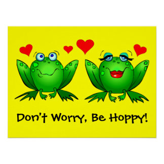 Don't Worry Be Hoppy Froggy Love Poster Yellow