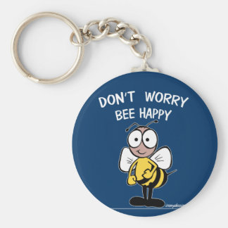 Don't Worry Bee Happy Basic Round Button Keychain