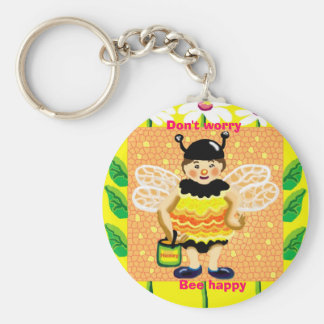 Don't worry, Bee happy Basic Round Button Keychain