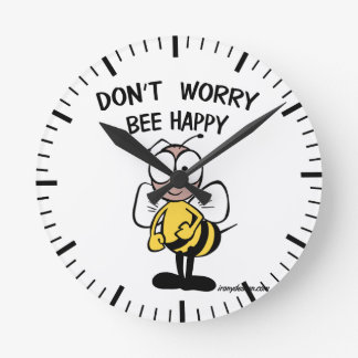 Don't Worry Bee Happy Round Wallclock