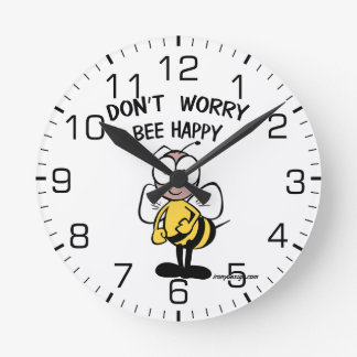 Don't Worry Bee Happy Round Wallclocks