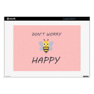 Don't worry bee happy with bee emoji laptop skin