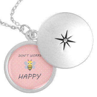 Don't worry bee happy with bee emoji silver plated necklace
