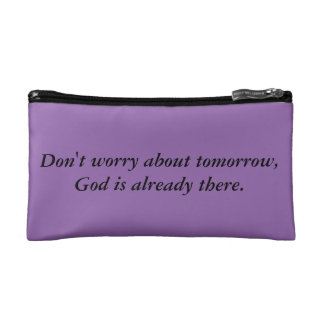 Don't Worry Cosmetic Bag w/Black Outline Cross