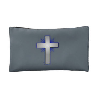 Don't Worry Cosmetic Bag w/Blue Flared Cross