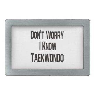 Don't Worry I Know Taekwondo Rectangular Belt Buckles