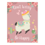 Don't Worry Llama Postcard