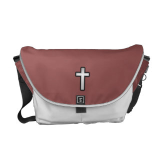 Don't Worry Messenger Bag w/Black Outline Cross
