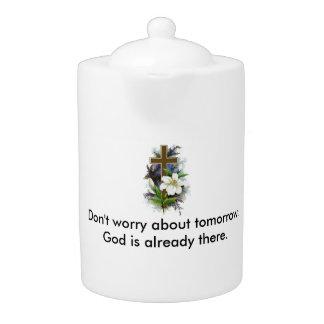 Don't Worry Teapot w/Blue Flower cross