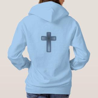 Don't Worry Women's Hoodie w/Blue Cross